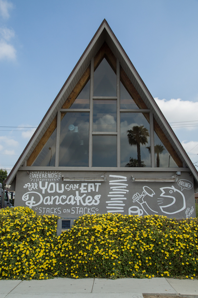 Chef Roy Choi's Hawaiian soul food restaurant, A-Frame, at 12565 W. Washington Boulevard, has the weekend pancake special described in graphic form by Los Angeles artist Eric Junker