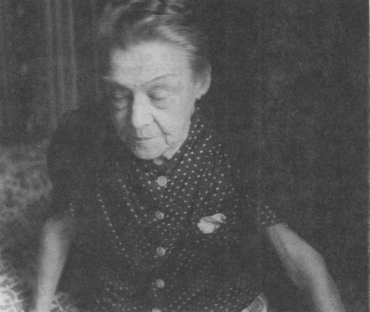 Mrs. Aurora Ionescu in her bedroom.